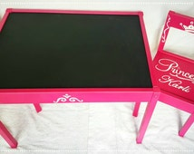 Magenta Princess table and chairs play set with name added