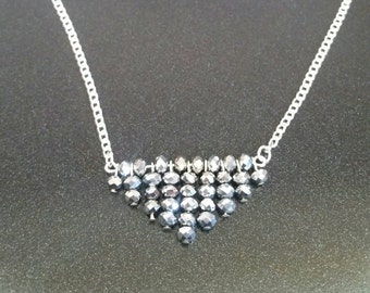 Beaded Silver Triangle Necklace