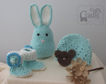 Baby Hat, Bunny Buddy and Bootie bundle