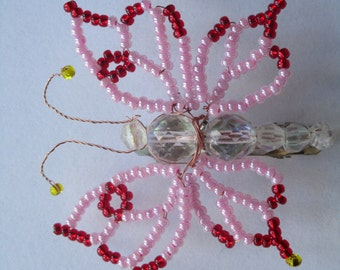 Beaded butterfly hair-slide, butterfly hair clip. Pink red butterfly handmade hair clip.