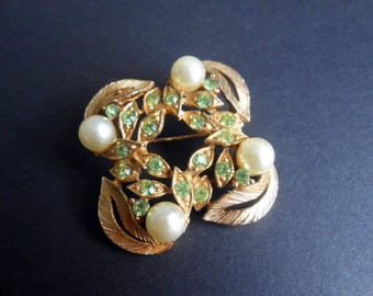 Gold Tone Leaves Brooch With Faux Pearls And Pea Green Paste Stones