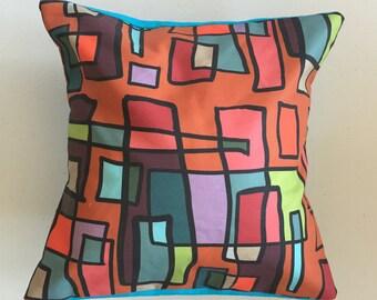 Bright Lights Big City Decorative Pillow-12x12-Throw Pillow-Pillow Cover-Multi-Blue-Interior-Design-Fabric-Art-Decorating-Home Decor