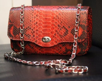 Medium handbag, python skin