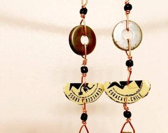 Bottle cap/washer earrings
