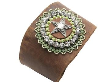 Leather Cuff 104-Star Medallion & Rhinestones
