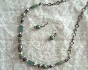 Green and purple necklace and earring set