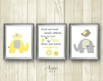 Yellow and Grey Nursery Art Elephant nursery Giraffe Nursery wall art, First we had each other Quote Baby Boy Room Decor Printable Kids Art