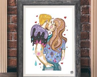 Romantic Couple Kissing Valentines A4 A5 illustration, art, print, couple, drawing, kissing couple, couple kissing print