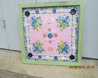 VINTAGE BUTTON ART,, french buttons,. french fabrics,. pink buttons,. 1950's hankies, trims and buttons, housewarming gifts, floral art