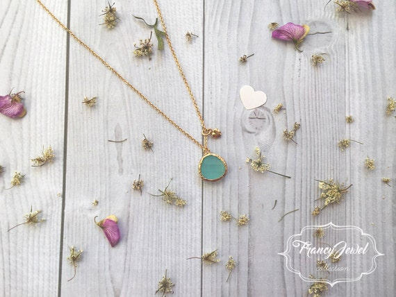 Turquoise crystal necklace, precious stone, natural stone, 18k gold plated, crystal pendant, romantic, wedding gift, bridesmaid gift