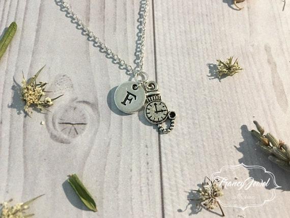 Alice's necklace, custom initial, white rabbit pocket watch, Alice's pendant, silver Alice's charm, Alice in Wonderland, Alice's inspired