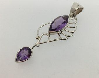 Purple Amethyst Dangling Sterling Silver Pendant