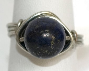 lapis lazuli ring, silver plated wire wrapped ring, Nested Lapis ring, lapis lazuli jewellery, genuine gemstone ring, nested ring, for her