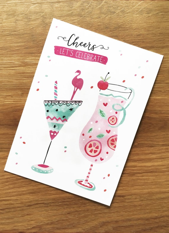 "Postcard ,,Lets celebrate"", Cocktails, Aquarell, Watercolor, Illustration, party, friends, girlfriends"