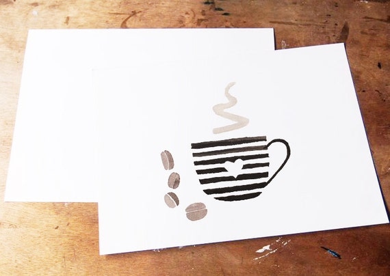 Coffee Watercolor illustration Clipart, Hand painted image, Brown, Coffee cup, Coffee printable, Coffee Beans,digital