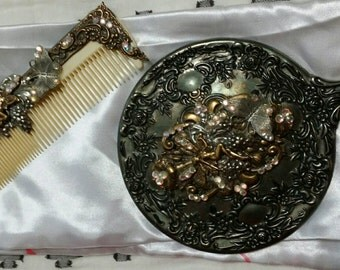 Decorative/ vintage mirror and comb set