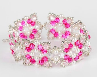 Christmas Pink White Swarovski Pearls Beaded Bracelet,The Butterfly Bracelet, Pink Bicone Bracelet,Pink Bracelet, Crystal Fire Polish, UK