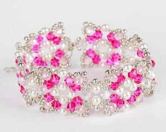 Christmas Pink White Swarovski Pearls Beaded Bracelet,The Butterfly Bracelet, Pink Bicone Bracelet,Pink Bracelet, Crystal Fire Polish, UK