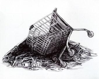 Anti-consumerism Illustration/ Anti-globalism Drawing/ Fine Art/ Original Artwork/ Wall Decor/ Modern Art/ Conceptual wall decor
