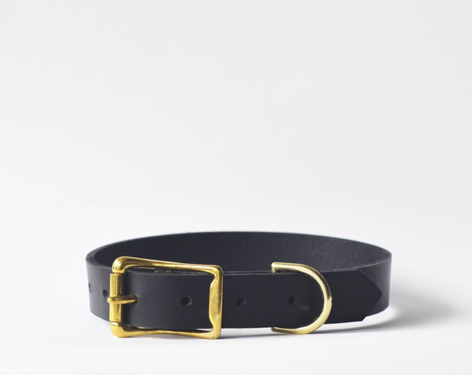 Black full grain dog collar, solid brass hardware