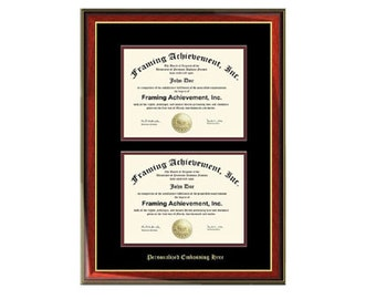 dual diploma frame double certificate frames embossed two document satin rich mahogany gold accents top mat - Dual Diploma Frame