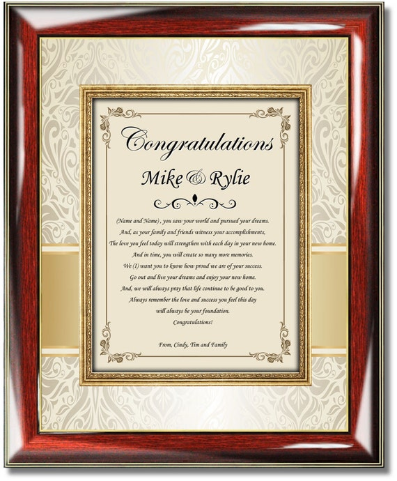 Personalized Housewarming Gift Frame Unique New Home Buyer