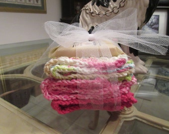3 Hand Knit Wash Cloths Or Dish Cloths In Shades Of Pinks And 1.5 Oz. Almond Soap Gift Set.
