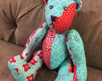 Patchwork Red and Turquoise Teddy Bear