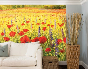 Field Of Red Poppies And Yellow Rapeseed Oil Painting Wall Mural