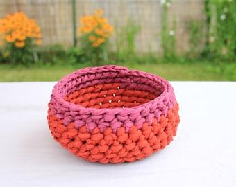Red&Pink Crochet Bowl/Basket/Key,Jewelry Holder