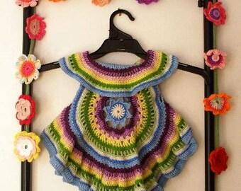 Crocheted circular rainbow vest: 'Winter's Day'
