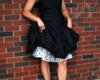 1980s Party Dress with Polka Dot Petticoat