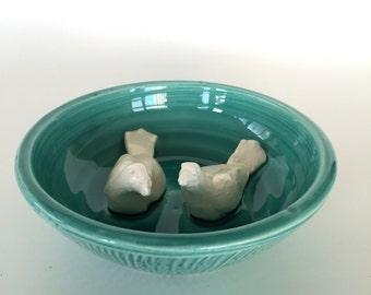 Handmade Ceramic Lovebird Jewelry Dish