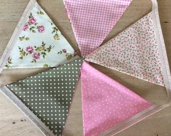 Bespoke Sage Green & Pink Cottage Chic Bunting
