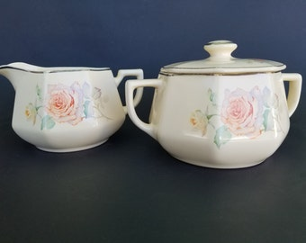 "Vintage Homer Laughlin ""Yellowstone Platinum"" Creamer and Sugar Bowl Set~Orange and Yellow Roses~1930's ~Pastel Rose Pattern"