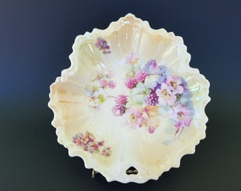 Vintage Silesia German Scalloped Bowl ~ Lusterware Finish ~  Flowers and Berries