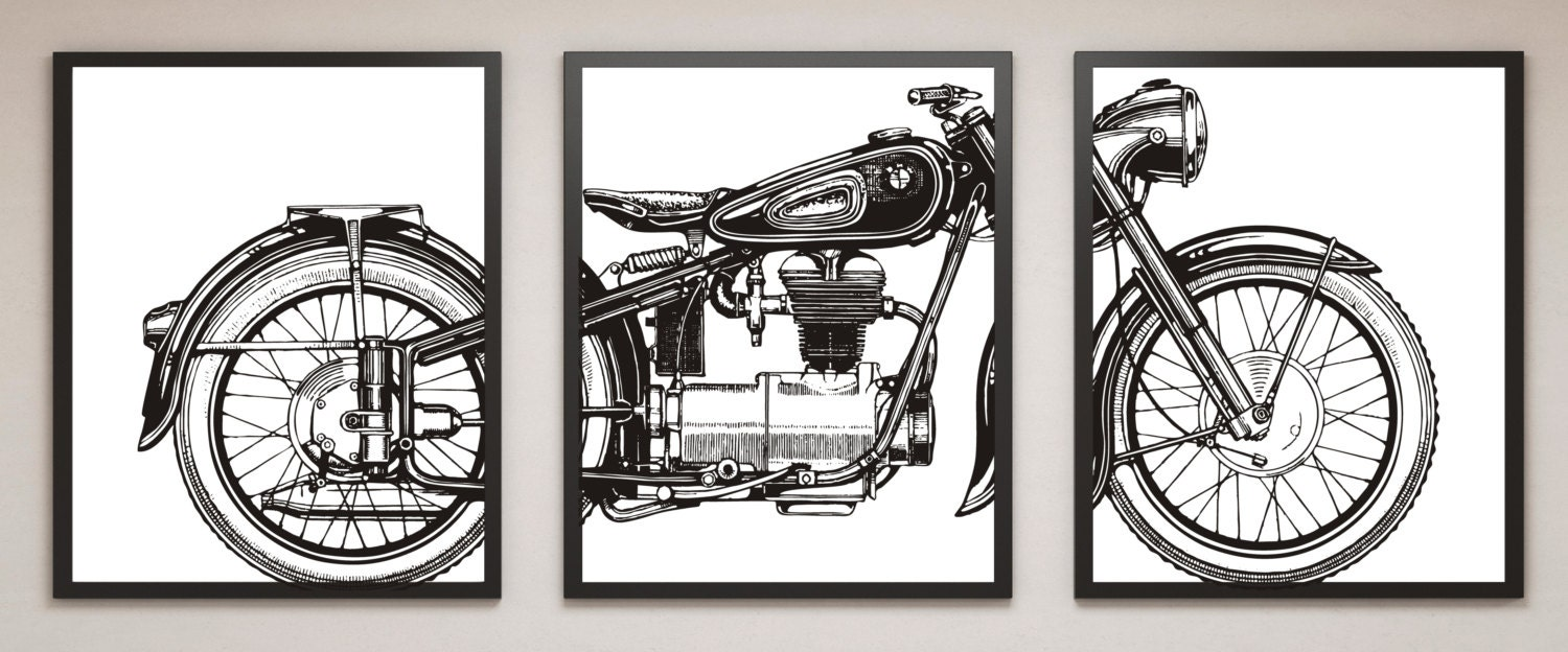 Man Cave Wall Art motorcycle print set, motorcycle panel art, panel wall art