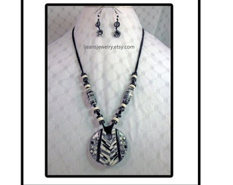 Black and White Tribal Polymer Clay Necklace and Earring Jewelry Set