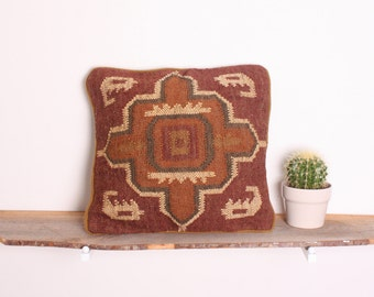 Bohemian Cross Kilim Cushion Pillow Handwoven Using Traditional Design