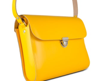 Yellow Leather Crossbody/Shoulder Bag made in London