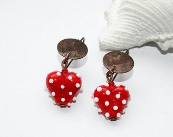 Earrings, copper earwires, handmade, Lampwork beads, earrings, heart earrings, gift, white dots, copper items,.