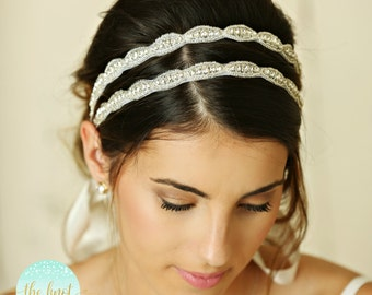 Double row headband,Bridal Crystal Headband, Bridal Headpiece, Wedding Headband, Wedding Head Piece, Crystal Headband,beach wedding headband