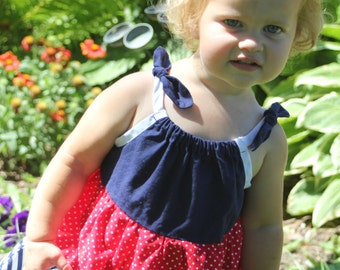 Red , white and blue summer dress