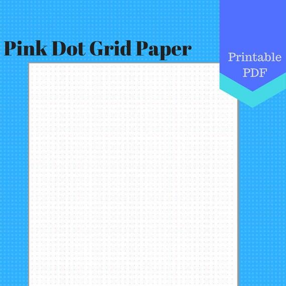 PRINTABLE Pink Dot Grid Paper, letter, jr, half
