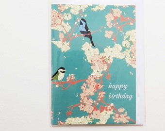 Birthday Cards / Happy Birthday / Thinking of you Birds / Climb Every Mountains / Florals/Blossoms - Aqua/Pink/Purple - 4 for 3 cards
