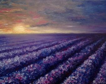 Landscape Oil Painting Field Lavender Wall Art Canvas Lavender Painting Floral Field Landscape Painting Canvas Impressionism Modern Art Work