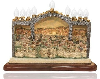 One of a kind -  Beautiful Jewish Menorah with Jerusalem View of the Temple
