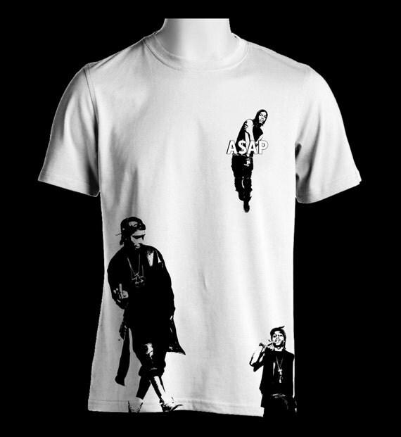 ASAP ROCKY silhouette white T-Shirt, Iconic ferg mob