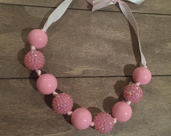 Pink bubblegum bead necklace