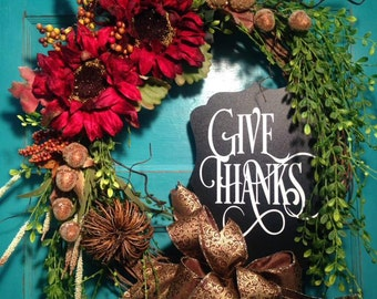 Give Thanks Grapevine Wreath